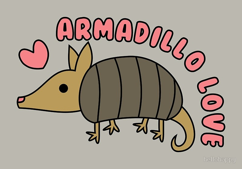 Armadillo clipart kawaii. Adorable with text canvas