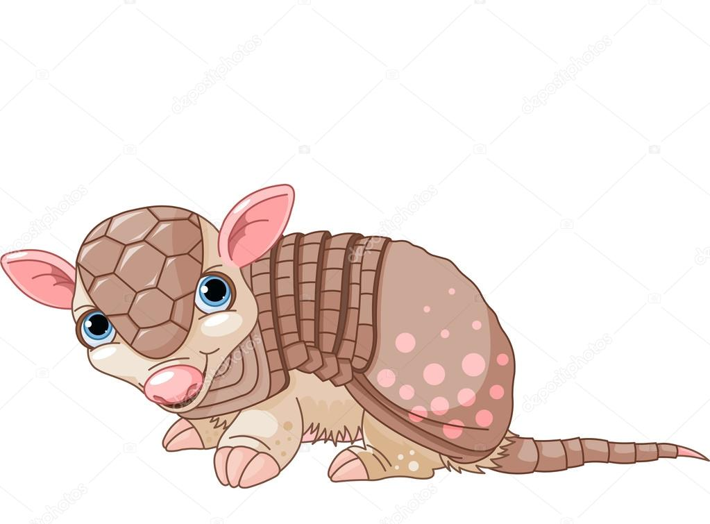 Armadillo clipart kawaii. Cartoon stock vector dazdraperma