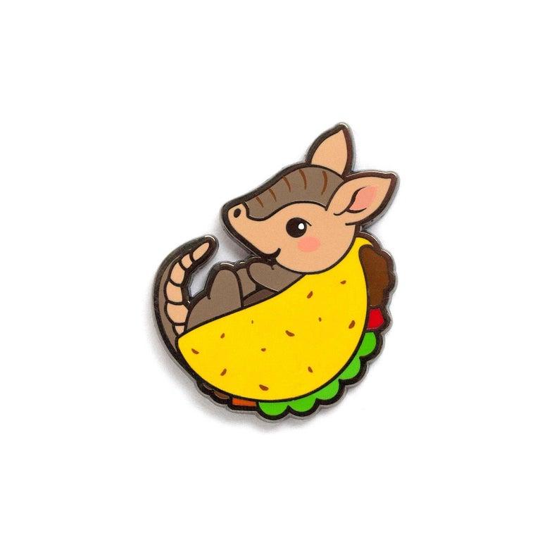 Tacodillo pin taco mexican. Armadillo clipart kawaii
