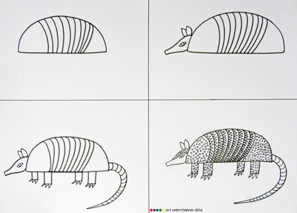 Armadillo clipart simple. Step by easy to