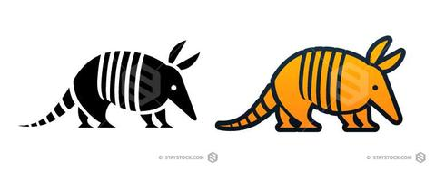 Icon staystock a stylized. Armadillo clipart simple