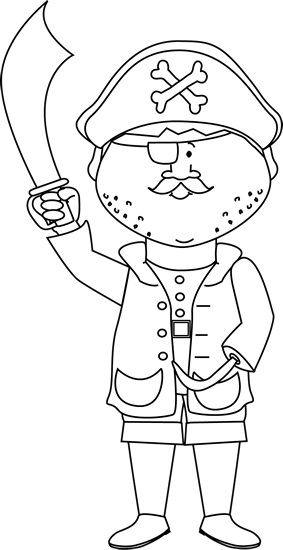 Pirate with a hook. Arms clipart black and white