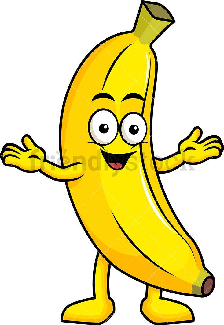 Banana clipart cartoon. Happy mascot clip arts