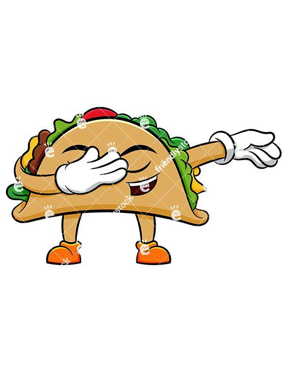 Arms clipart cute. Dabbing taco cartoon vector