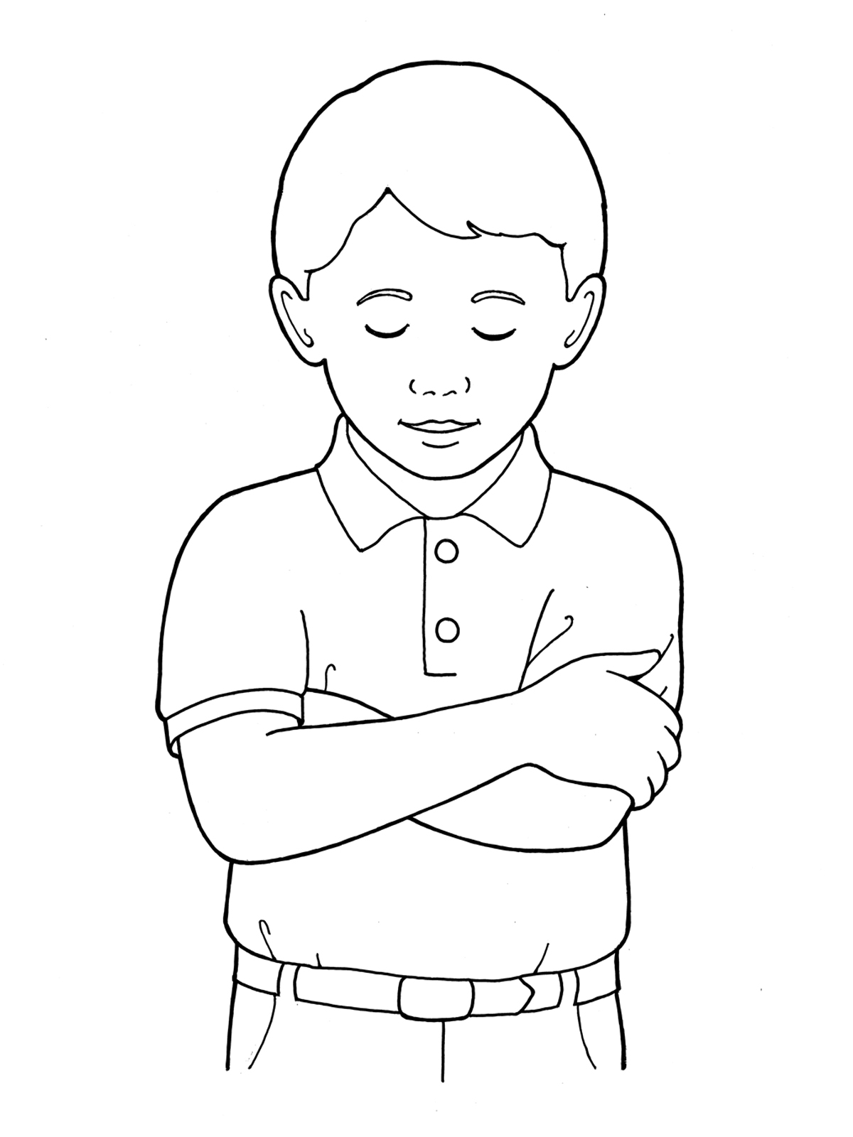 Primary boy folding and. Arms clipart drawing