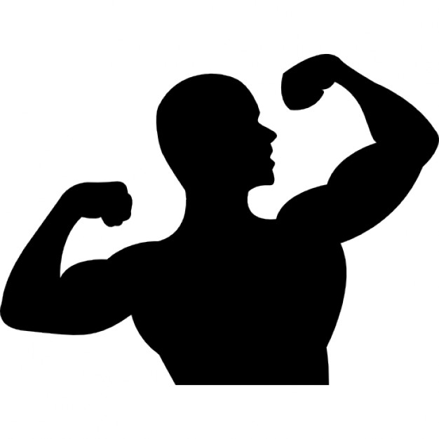 Male gymnast flexing icons. Arms clipart flexed arm