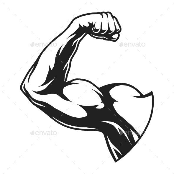 Arms clipart flexed arm. Vintage bodybuilder flex template