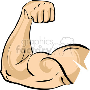 Royalty free arm flexing. Muscles clipart