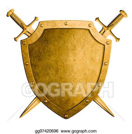 Drawing gold medieval coat. Arms clipart two