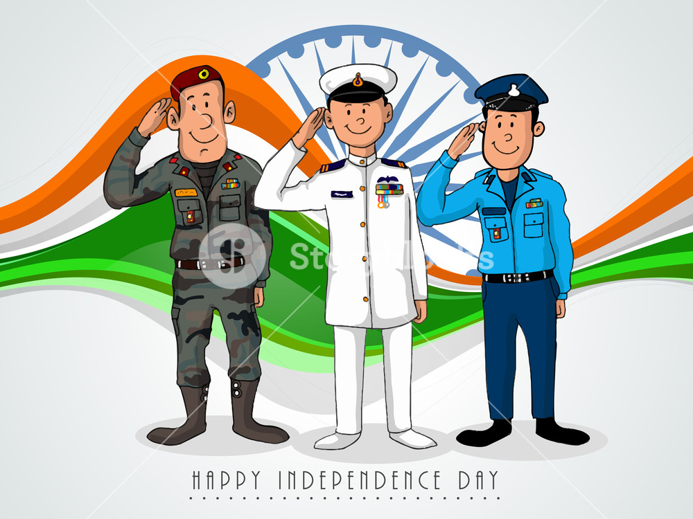 Illustration of saluting officers. Army clipart army officer