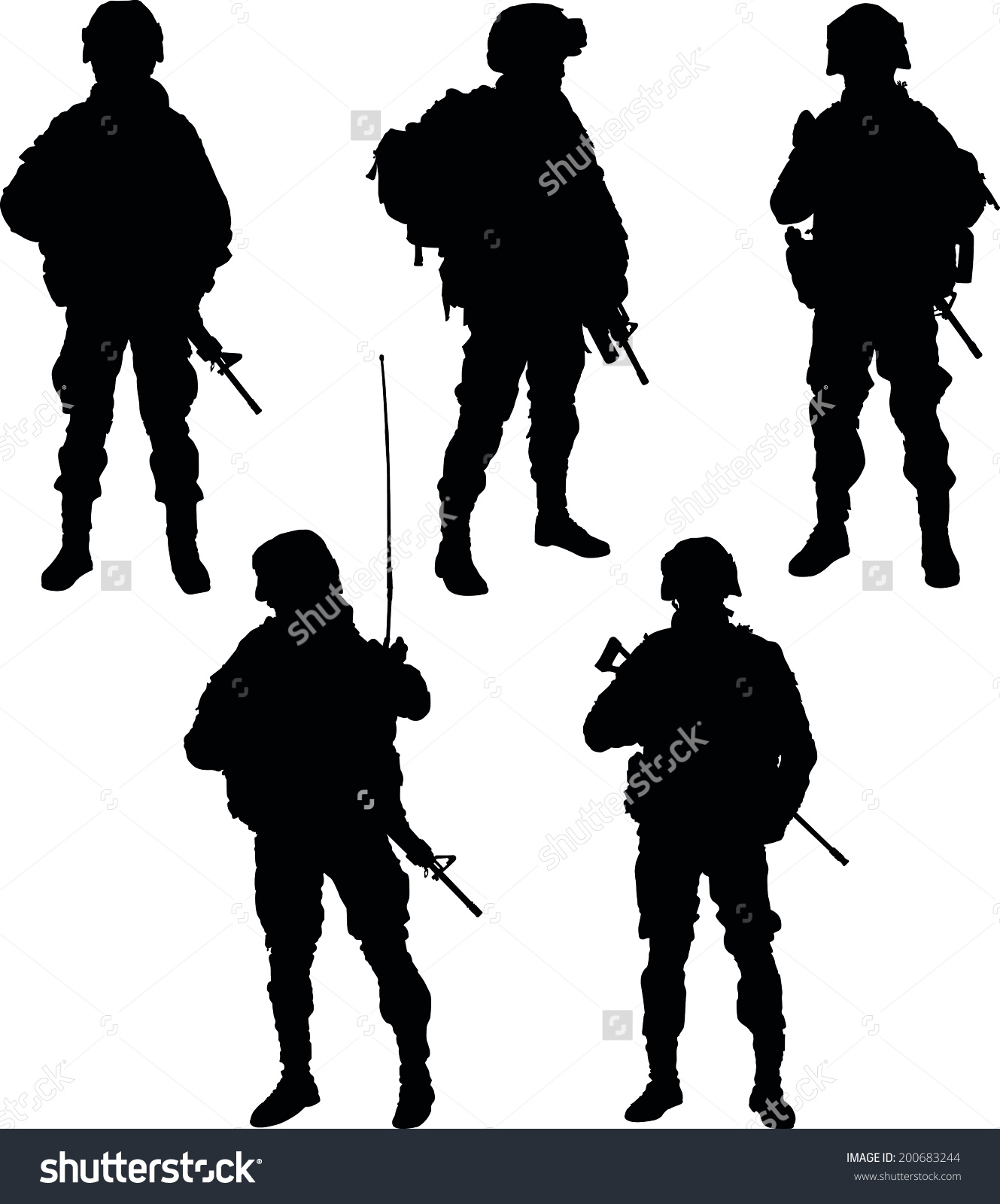 Army clipart army person. Silhouette pencil and in