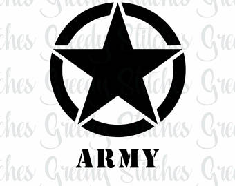 Etsy armystar svg dxf. Army clipart army star