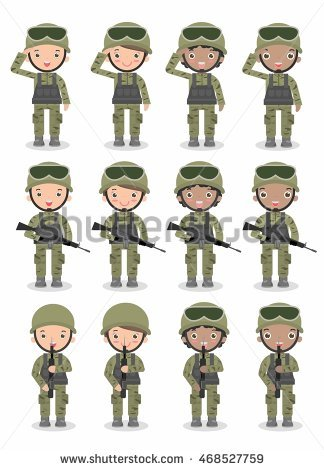 Military men and woman. Army clipart army uniform