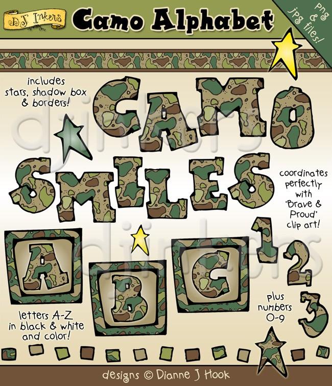 Camo alphabet clip art. Army clipart border