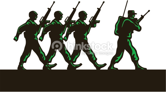 Pencil and in color. Army clipart group soldier