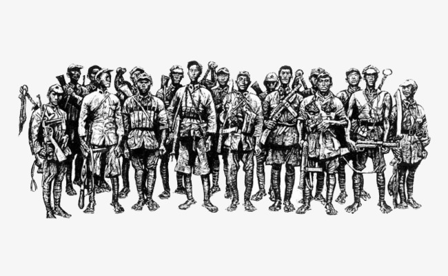 Cartoon the long march. Army clipart group soldier