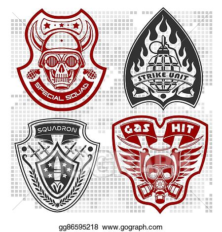 Army clipart patches. Vector art set of