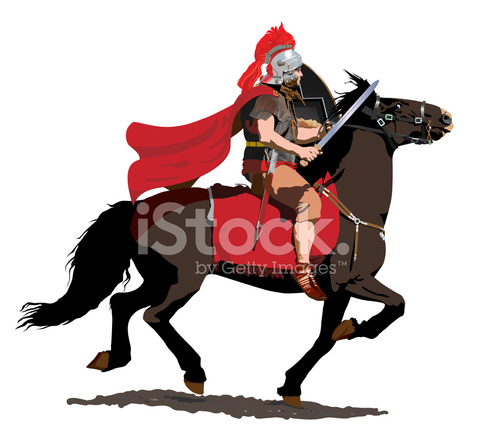 Army clipart roman. Cavalry soldier stock vector