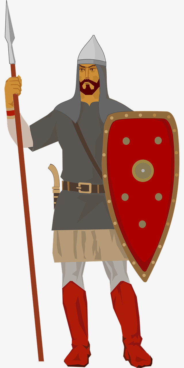 Soldier holding a lance. Army clipart shield