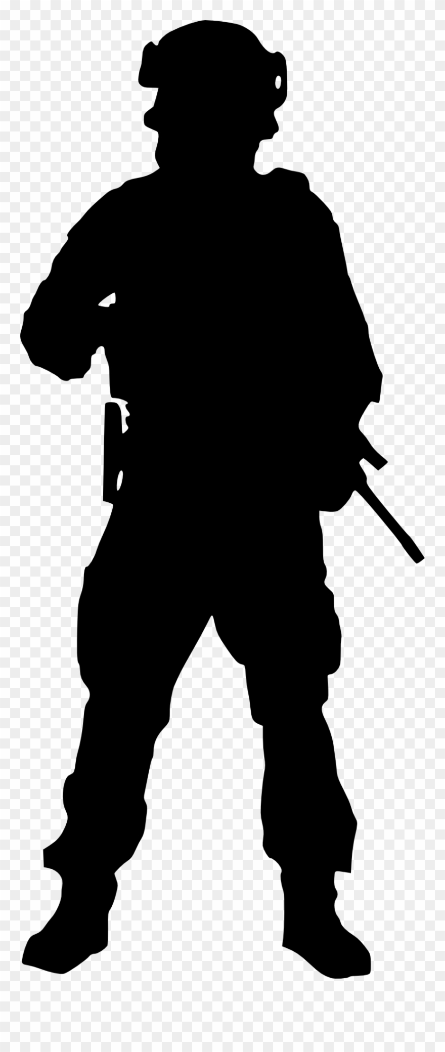 Running soldier transparent . Army clipart silhouette