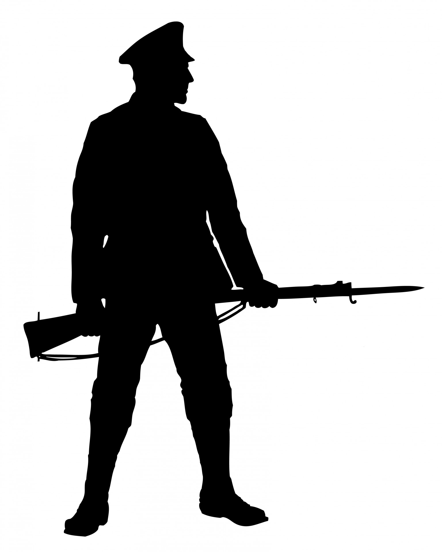 Army clipart silhouette. Soldier with rifle free