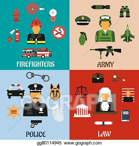 Army clipart tools. Vector stock fireman soldier