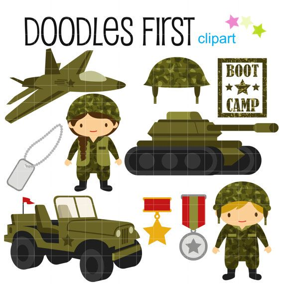 Military clipart tools. Little army cute digital
