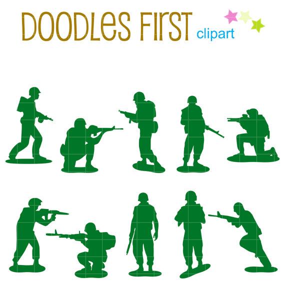 Army clipart toys. Little men silhouette digital