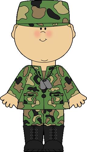 Boy in army uniform. Military clipart