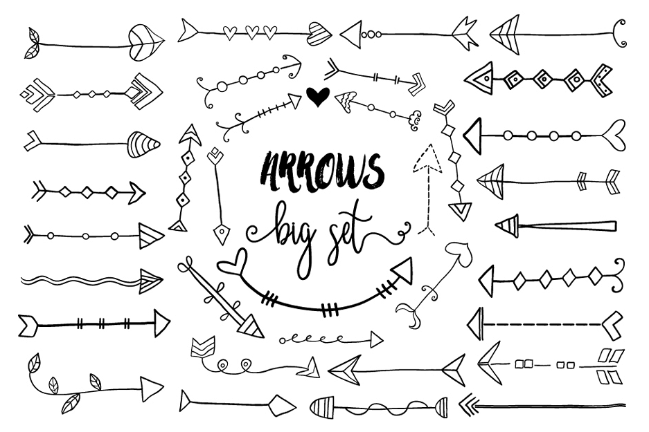 Black hand drawn design. Arrows clipart doodle