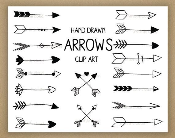 Black hand drawn arrows. Arrow clip art
