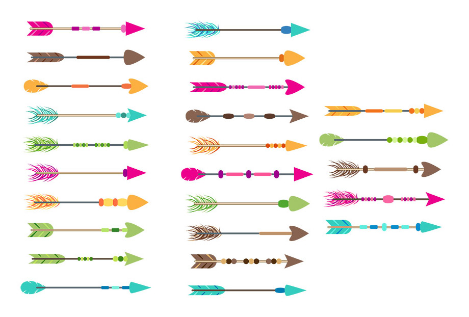 Arrows clipart.  colorful tribal arrow