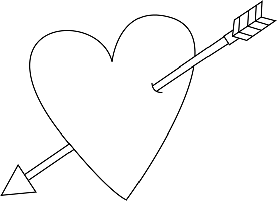 Valentine s day heart. Arrow clip art black and white