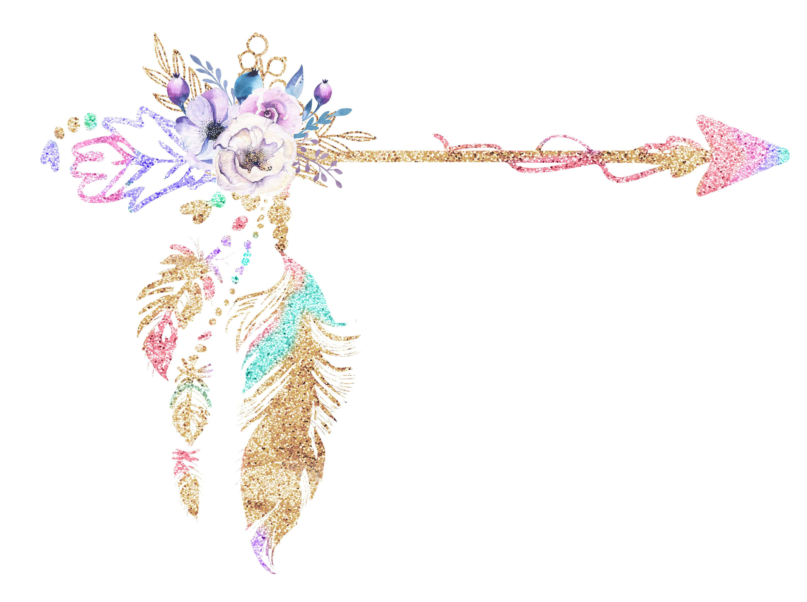 Arrow clip art boho. Free floral clipart pretty