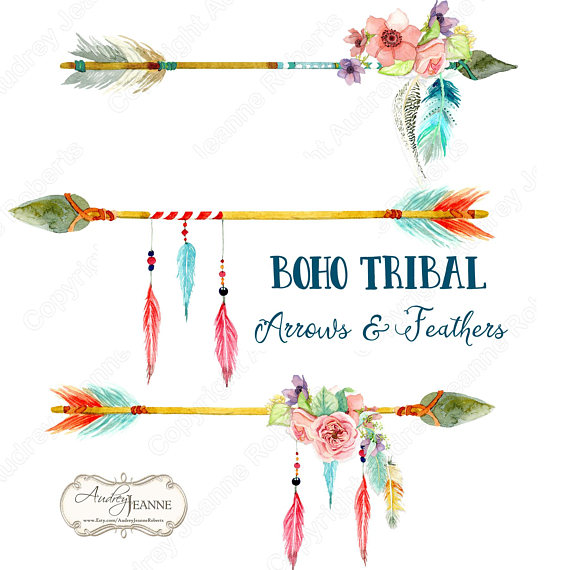 Arrows clipart boho. Watercolor tribal floral digital