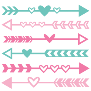 Valentine set svg scrapbook. Arrow clip art cute