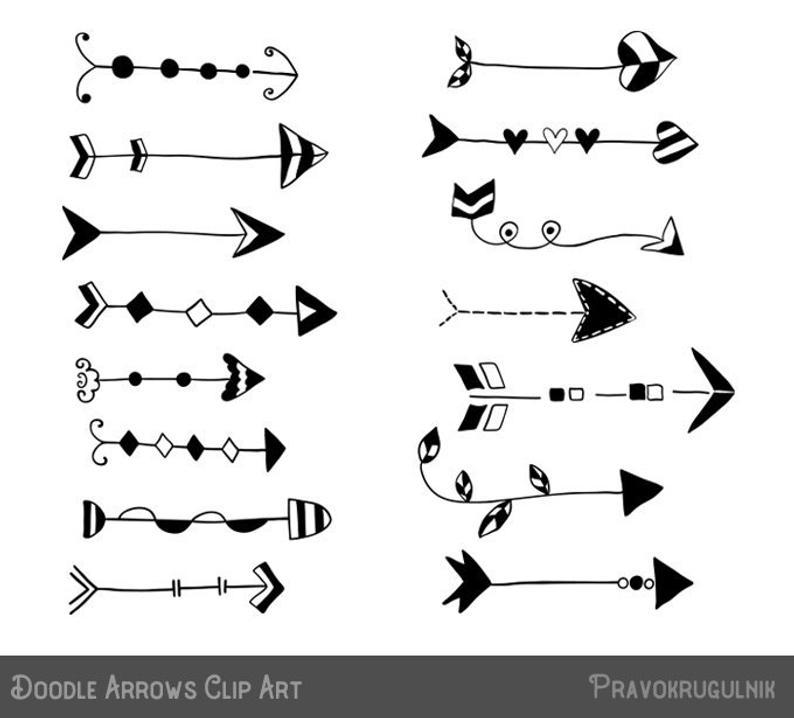 Rustic arrow set hand. Arrows clipart doodle