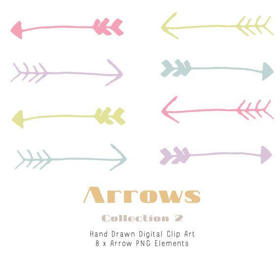Hand drawn arrow clip. Arrows clipart shabby chic