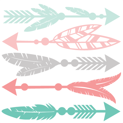 Arrow set svg scrapbook. Arrows clipart feather