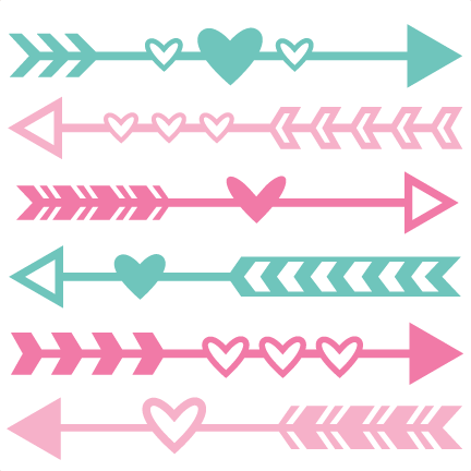 Valentine arrow set svg. Arrows clipart cute