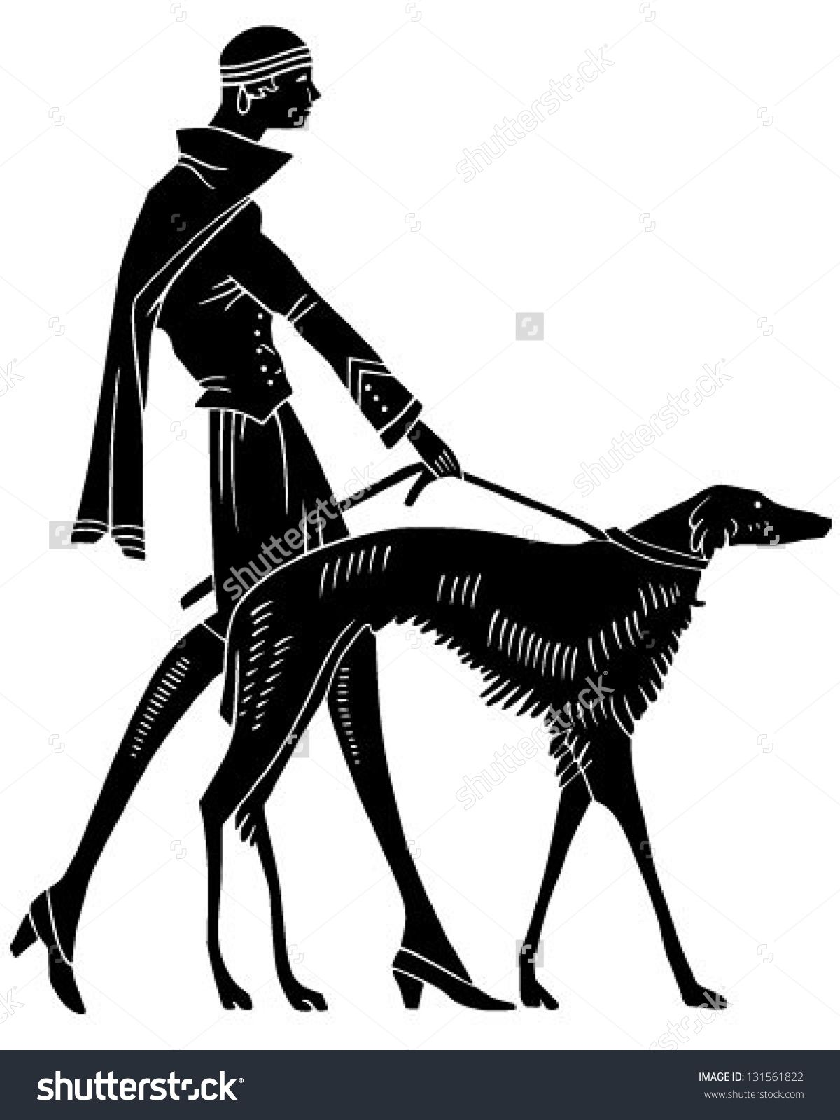Arrows clipart art deco. Woman with dog retro