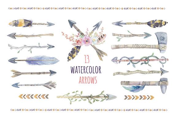 Boho clipart arrow. Watercolor arrows bouquets tribal