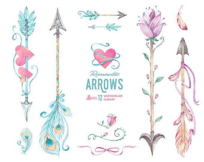 Ethnic arrows watercolor hand. Arrow clipart boho