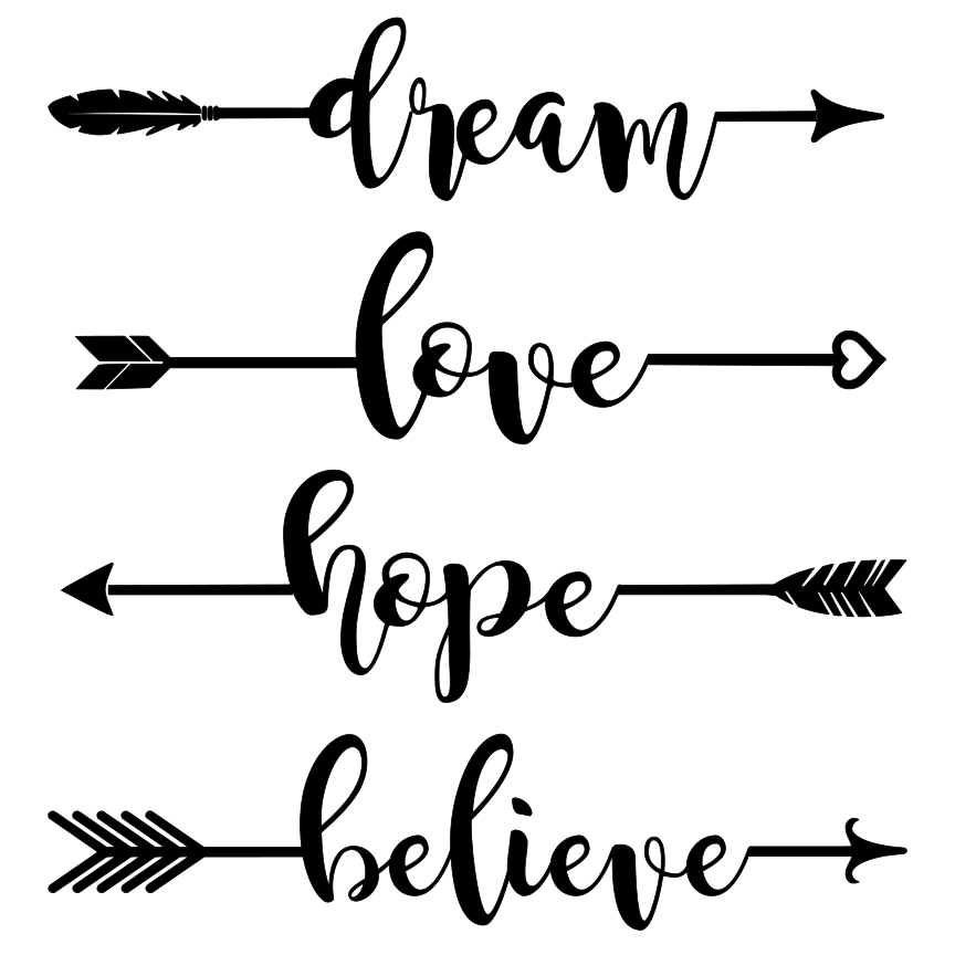 Arrows clipart calligraphy. Dream hope love believe