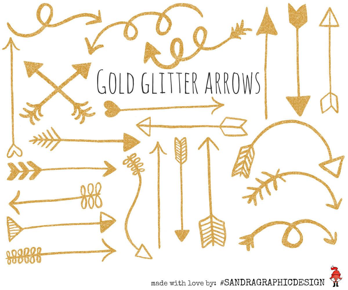 Arrows clipart calligraphy. Arrow clip art gold