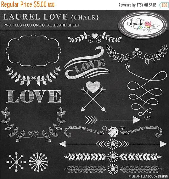 off laurel hearts. Arrows clipart chalkboard