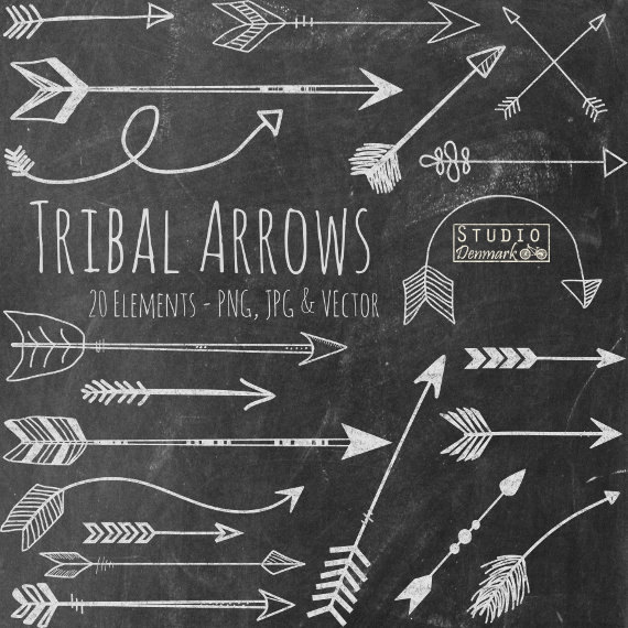 Chalk tribal hand drawn. Arrows clipart chalkboard