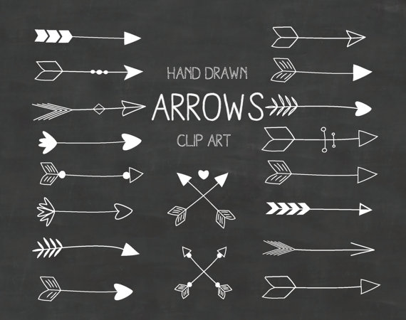 White hand drawn a. Arrows clipart chalkboard