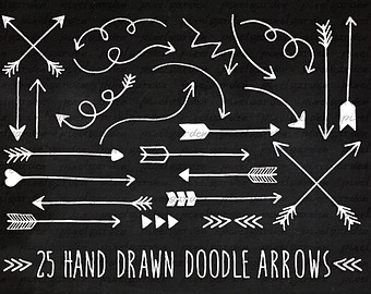 Arrows clipart chalkboard. Clip art with hand