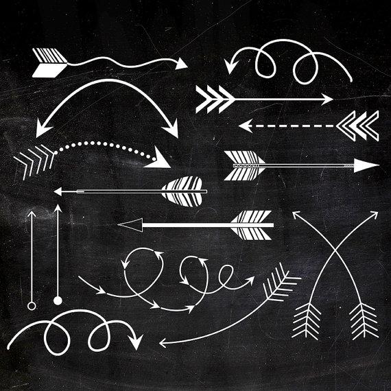 Tribal arrows white chalk. Chalkboard clipart printable